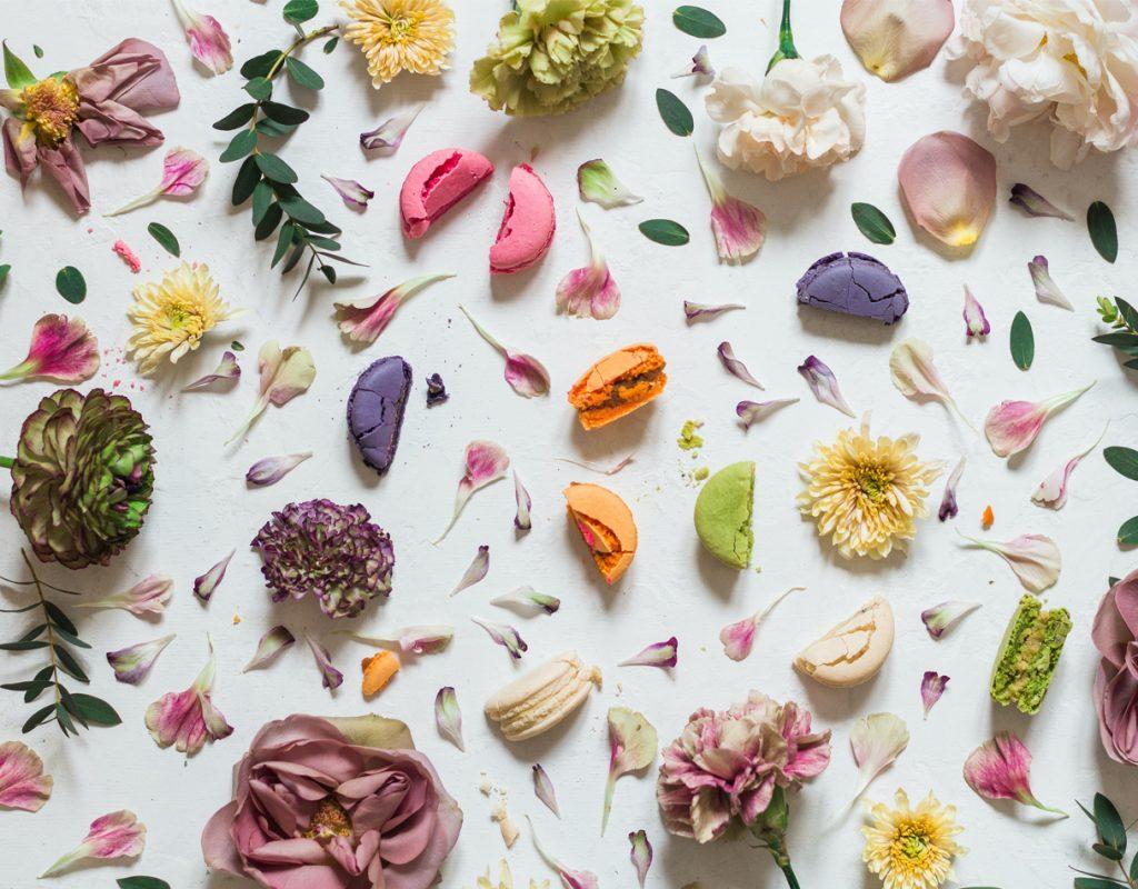 Fiori, petali e macaroons disposti su un piano bianco
